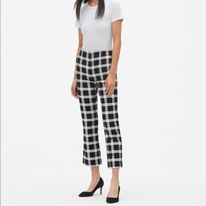 GAP Plaid High Waist Cropped Flare Trousers